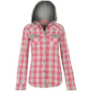 Lee Cooper Hooded Checked Shirt Ladies Pink/Charc/Grey 10 (S ...